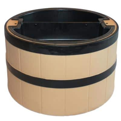31 in. Whiskey Barrel Planter Style Septic, Well, Lawn and Garden Enclosure - Straw