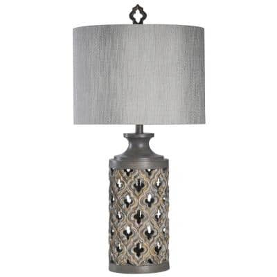 34.5 in. Vincent Gray Table Lamp with Gray Hardback Fabric Shade