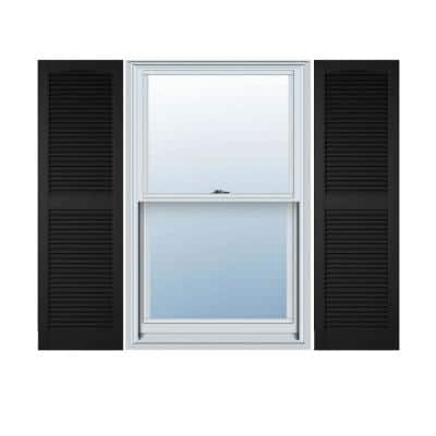 15 in. x 39 in. Louvered Vinyl Exterior Shutters Pair in  Black
