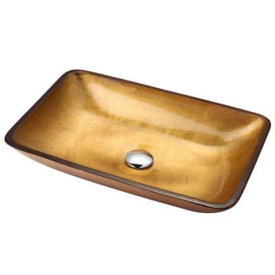 Golden Pearl Rectangular Glass Vessel Sink in Multicolor