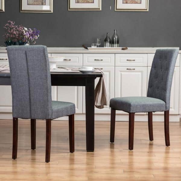 Glitzhome Dark Gray Fabric Dining Chair, Fabric Dining Room Chairs