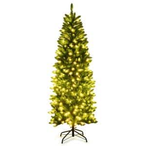 6 ft. Pre-Lit LED Slim Fraser Fir Artificial Christmas Tree with 250 Twinkling White Lights