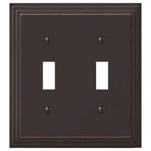 Tiered 2 Gang Toggle Metal Wall Plate - Aged Bronze