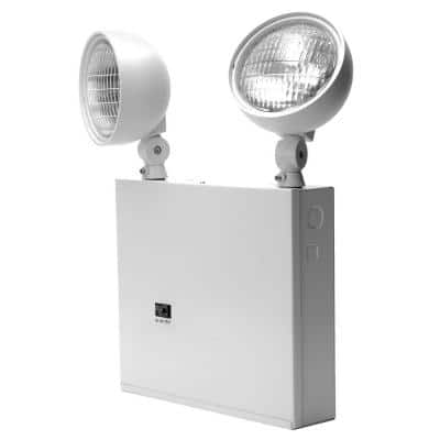 New York Approved 2-Head White Steel Emergency Fixture Unit