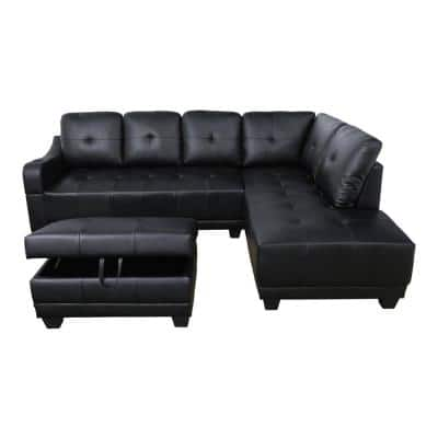 Mike 3-Piece Black Faux Leather 3-Seater L-Shaped Right-Facing Sectional Sofa with Ottoman