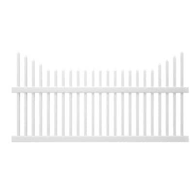 Pro-Series 3.5 ft. H x 8 ft. W White Vinyl Alexandria Cut Scalloped Spaced Picket Fence Panel - Unassembled