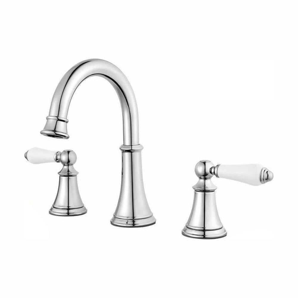 Pfister Courant 8 In Widespread 2 Handle Bathroom Faucet In Polished Chrome With White Handles Lf 049 Copc The Home Depot