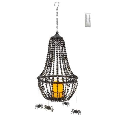18.5 in. H Black Acrylic Crystal and Metal Chandelier Flameless Halloween Candle with 6 Spiders