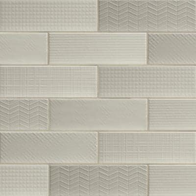 Citylights Crema 3D Mix 4 in. x 12 in. Glossy Glazed Ceramic White Textured Subway Tile (9.9 sq. ft./Case )