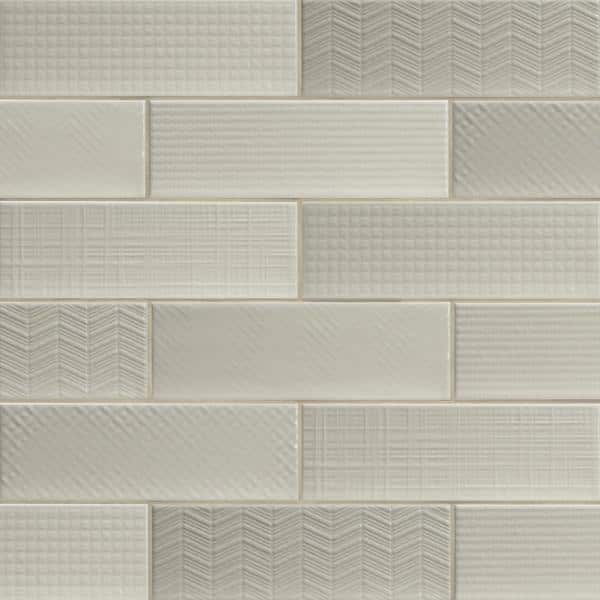 citylights crema 3d mix 4 in x 12 in glossy glazed ceramic white textured subway tile 9 9 sq ft case