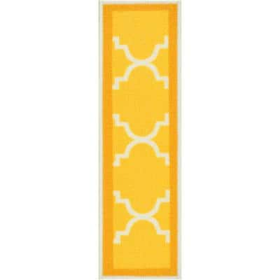 Kings Court Brooklyn Trellis Gold Modern Lattice Rubber Back Non-Skid 9 in. x 31 in. Stair Tread Cover (Set of 7)