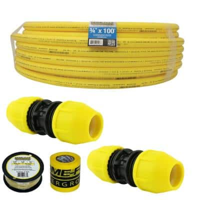 Underground 3/4in IPS Extension Kit (1)3/4in x 100 ft. Pipe, (2)3/4in Couplers, Gas Line Detection