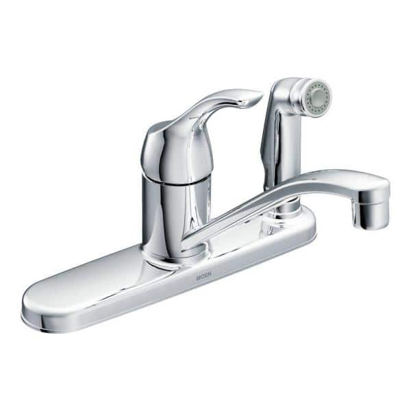 Moen Adler Single Handle Low Arc Standard Kitchen Faucet With Side Sprayer In Chrome Ca87554c The Home Depot