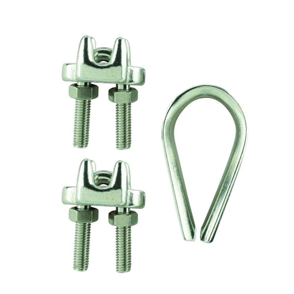 Pack of 10 A Base with Screws and Nuts for Wraping Around The Wire Rope M3 Duplex Clips Stainless Steel Wire Cable Rope Grips Clamps Caliper U Clamp Ring