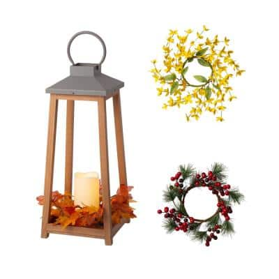 19.29 in. H Wooden/Metal Led Pillar Lantern with 3 Changeable Candle Rings Spring/Fall/Christmas