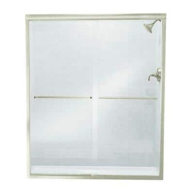 Finesse 57 in. x 70.0625 in. Frameless Sliding Shower Door in Brushed Nickel