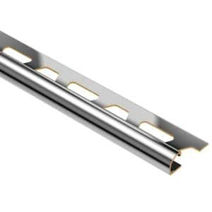 Rondec Chrome-Plated Solid Brass 3/8 in. x 8 ft. 2-1/2 in. Metal Bullnose Tile Edging Trim
