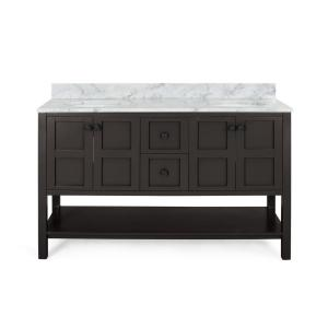Jaeden 60 in. W x 22 in. D Bath Vanity with Carrara Marble Vanity Top in Grey with White Basin