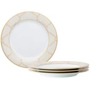 9 in. Gold White Eternal Palace Porcelain Accent Plates (Set of 4)