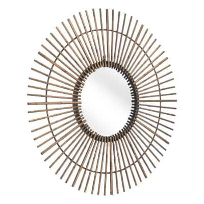 Modern  Gold Steel Accent Mirror 31.9 in. H x 31.9 in. W