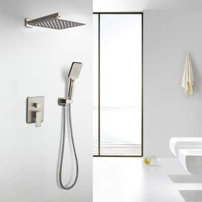 3-Spray with 2.5 GPM 12 in. 2 Functions Wall Mount Dual Shower Heads in Spot in Brushed Nickel (Valve Included)