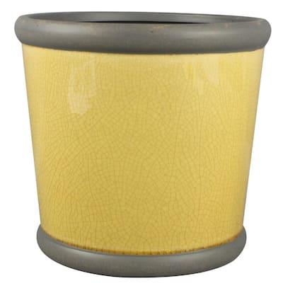 9 in. Honey Belleville Crock Ceramic Planter