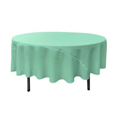 90 in. Round Mint Polyester Poplin Tablecloth