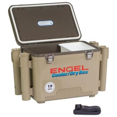 19 qt. Fishing Rod Holder Attachment Insulated Dry Box Cooler, Tan