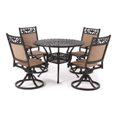 Classic Dark Brown 5-Piece Cast Aluminum Outdoor Dining Set with Round Table and Swivel Dining Chairs