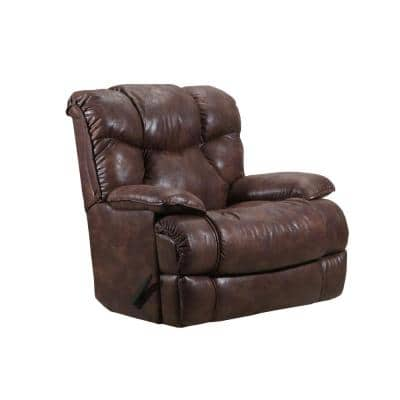 Kane 40 in. Width Big and Tall Medium Brown Faux Leather Rocking Zero Gravity Recliner
