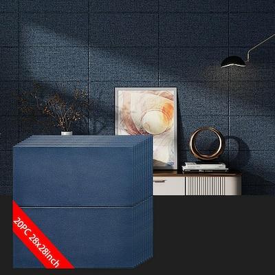 3D Embossed Dark Blue 28 in. x 28 in. / Piece (10-Piece ) Texture LinenLook Vinyl Peel and Stick Wall Panel