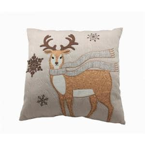 Cozy Reindeer 18 in. x 18 in. Christmas Pillow