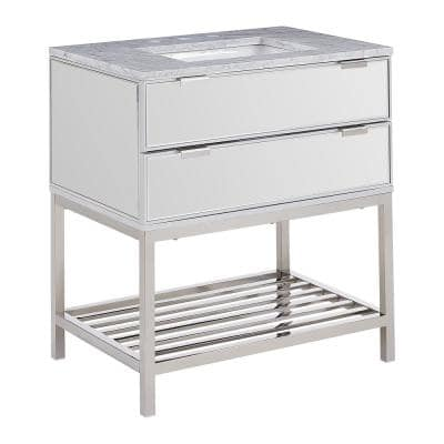 Ragelia 32 in. W x 23 in. D Bath Vanity in Silver Mirror with Marble Vanity Top in Gray with White Basin