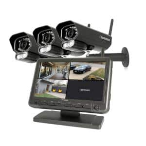 7 in. Monitor Security Camera System with Digital Wireless 3 Night Vision Cameras and SD Card Recording