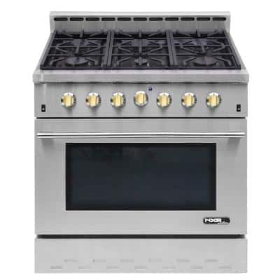 Entree Bundle 36 in. 5.5 cu. ft. Pro-Style Duel Fuel Range Convection Oven and Range Hood in Stainless Steel and Gold