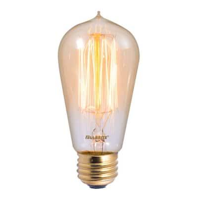 40-Watt ST18 Incandescent Light Bulb Medium Base (E26) Antique Nostalgic Thread 2200K (4-Pack)