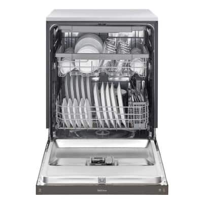 24 in. PrintProof Black Stainless Steel Front Control Dishwasher with QuadWash, 3rd Rack & Dynamic Dry, 48 dBA
