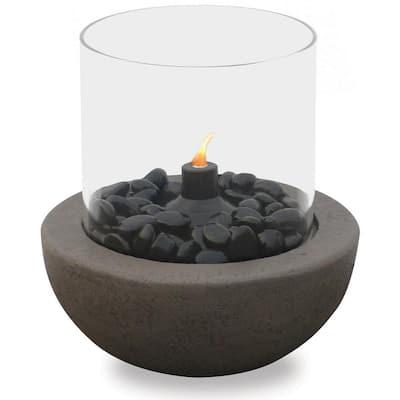 10.5 in. Dia Outdoor Gray Stone Tabletop Citronella Fire Bowl