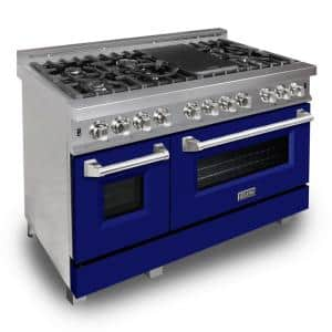 ZLINE 48 in. 6.0 cu. ft. Dual Fuel Range with Gas Stove and Electric Oven in DuraSnow Stainless Steel & Blue Matte Door