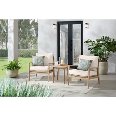 Laurelwood 3-Piece Eucalyptus Conversation Set with CushionGuard Almond Tan Cushions