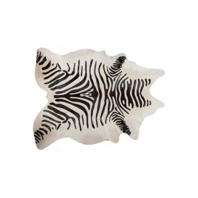 Josephine Zebra Black On Off-White 6 ft. x 7 ft. Specialty Cowhide Area Rug