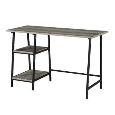 Designs2Go 47 in. Rectangle Weathered Gray and Black Particle Board Writing Desk with Metal Trestle Frame