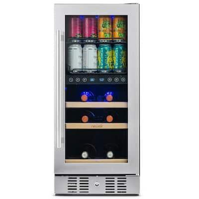 Premium 15 in. Built-In Dual Zone 9-Bottle Wine and 48 Can Beverage Cooler Fridge with SplitShelf - Stainless Steel