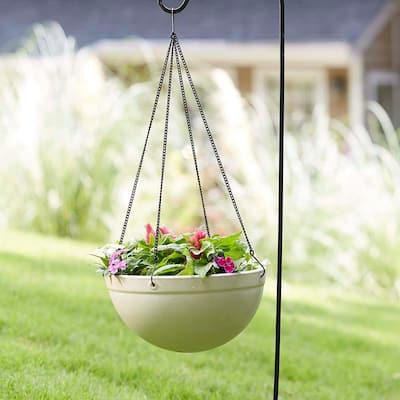 Monroe 12 in. White High-Density Resin Hanging Basket Planter