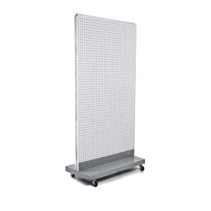60 in. H x 32 in. W 2-Sided Double Pegboard Floor Display On Wheeled Base in White