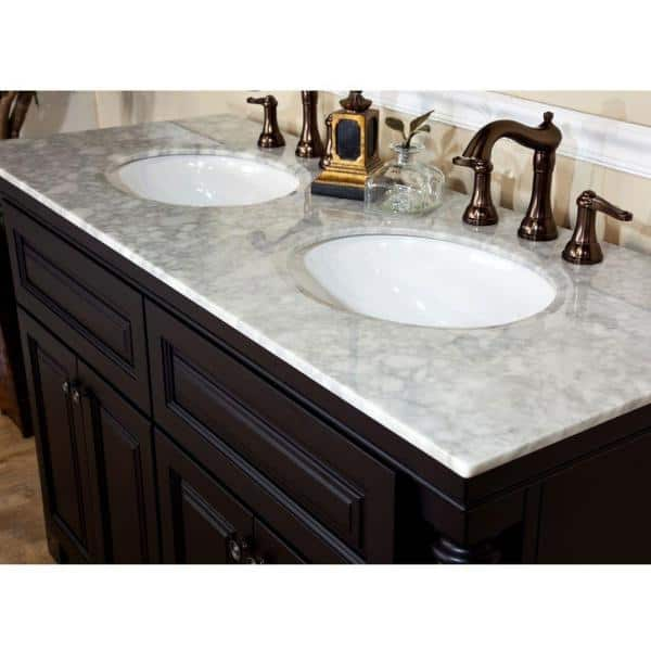 Bellaterra Home Parma 74 In Double Vanity In Dark Mahogany With Marble Vanity Top In White Bt5022b The Home Depot