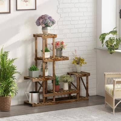 5-Layers 10-Pots Indoor Outdoor Higher and Lower Bamboo Plant Stand Plant Holder