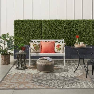 Aloha Patio Natural 7 ft. x 10 ft. Floral Modern Indoor/Outdoor Area Rug