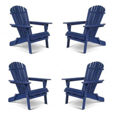 Classic Navy Blue Folding Wood Adirondack Chair (4-Pack)