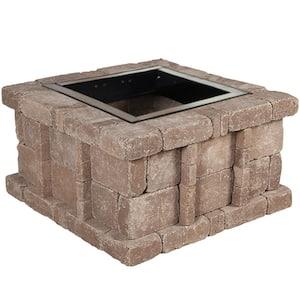 RumbleStone 38.5 in. x 21 in. Square Concrete Fire Pit Kit No. 5 in Cafe